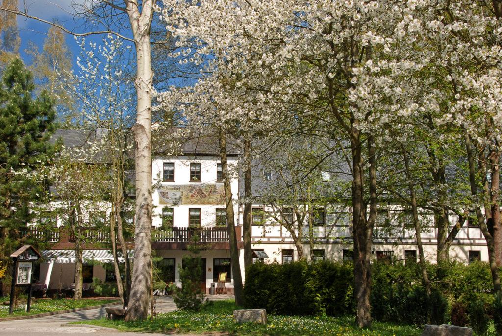 Hotelansicht mit Bäumen im Frühling